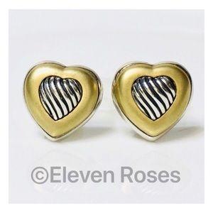 David Yurman Sterling 18k Cable Heart Earrings